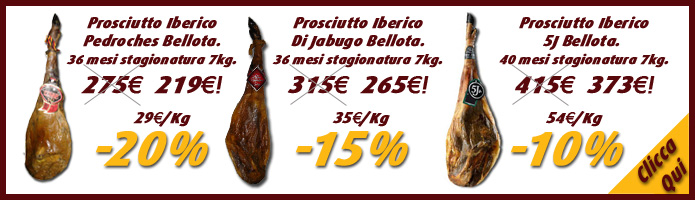 """Comprare Prosciutto Iberico Bellota """"Pata Negra"""" a partire da 219€ ogni 7,5 kg."""